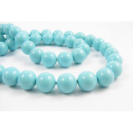 SHELL perlų karoliukai žydros spalvos apvalios formos 8 mm 10 vnt.