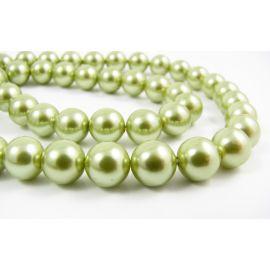 SHELL perlų karoliukai žalios spalvos apvalios formos 8 mm 10 vnt.