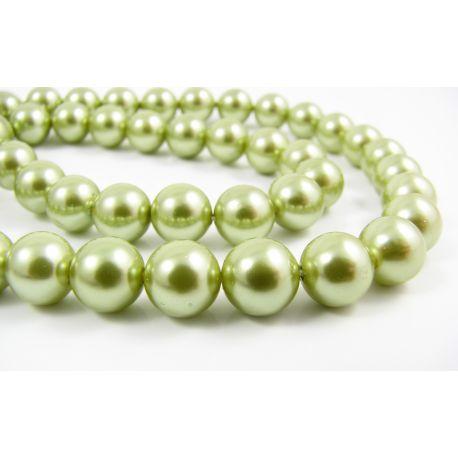 SHELL perlai vėriniams, apyrankėms, auskarams žalios spalvos 8 mm