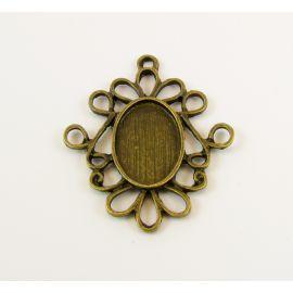Rėmelis - pakabukas kamėjai kabošonui bronzinės spalvos ovalo formos 32x27x2 mm