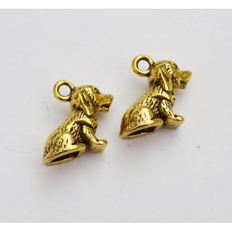 """Pakabukas """"Šuniukas"""", aukso spalvos, 16x13 mm."""