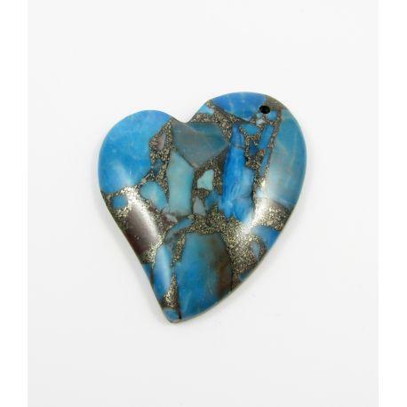 Opalo pakabukas skirtas vėriniams, mėlynos spalvos su aukso spalvos blizgiais intarpais, dažytas, širdutės formos, apie 43x46x7