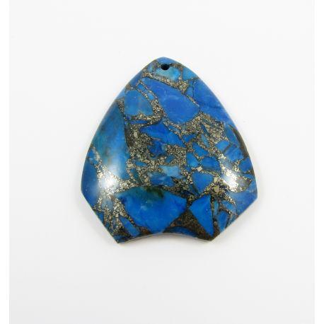 Opalo pakabukas skirtas vėrimui, tamsiai mėlynos spalvos su aukso spalvos blizgiais intarpais, dažytas, netaisyklingos lašo form