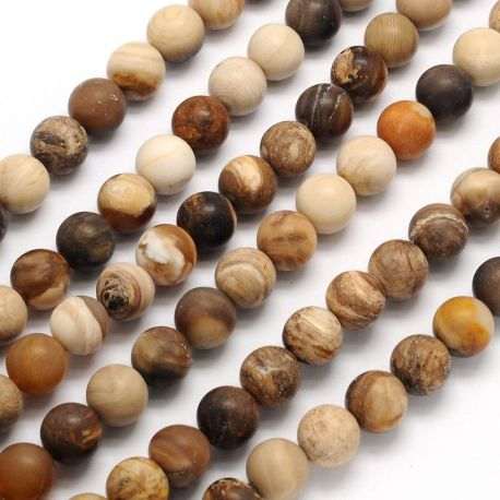 Akmeniniai Petrified Wood karoliukai skirti papuošalų, rankdarbių gamyboje. Baltos smėlio spalvos, apvalios formos, dydis apie 8