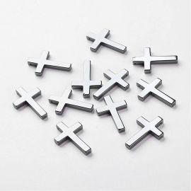 """Akmeniniai sintetinio Hematito pakabukas """"Kryžius"""" skirti papuošalų, rankdarbių gamyboje. Hematito spalvos, dydis apie 35x23x4 m"""