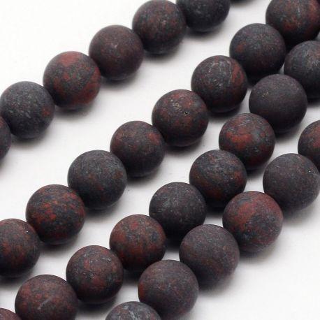 Akmeniniai natūralūs Jaspio karoliukai skirti papuošalų, rankdarbių gamyboje. Tamsiai juodos raudonos spalvos, apvalios formos,
