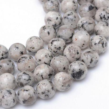 Natūralūs Jaspio karoliukai, pilka spalvos, 8-9 mm.