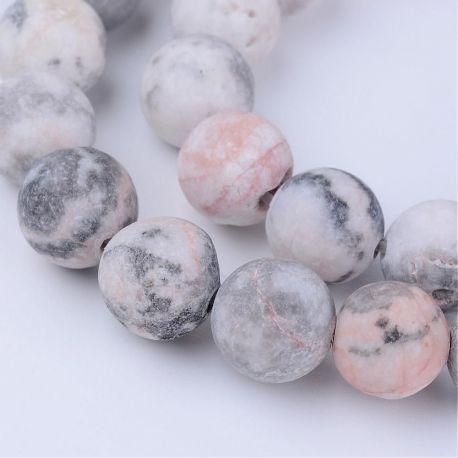 Natūralūs Zebrinio jaspio karoliukai, pilka spalvos, 10 mm.