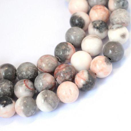 Akmeniniai Zebrinio jaspio karoliukai skirti papuošalų, rankdarbių gamyboje. Pilkos rausvos spalvos, apvalios formos, dydis apie