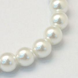 Perlai stikliniai karoliukai perliukai skirti papuošalų, rankdarbių gamyboje. Baltos spalvos, netaisyklingos apvalios formos, dy