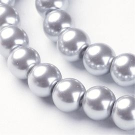 Stikliniai karoliukai perliukai 8 mm., 1 gija