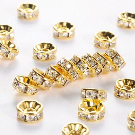 Priedai papuošalams intarpai su akutėmis skirti papuošalų, rankdarbių gamyboje. Aukso spalvos metalas, dydis apie 8 mm., kaina -