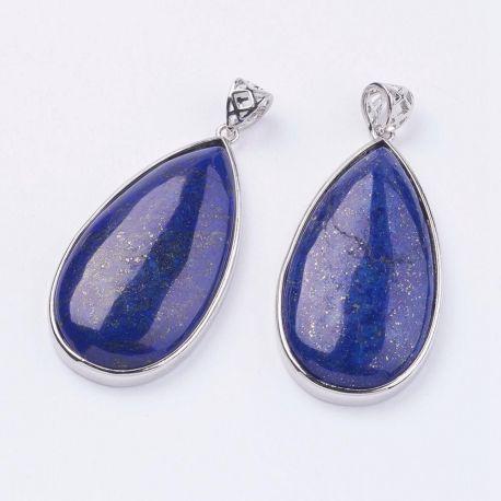 Natūralaus Lapis Lazuli pakabukai, mėlyna spalvos, 50x26x9 mm