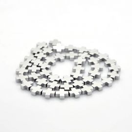 "Synthetic hematito beads ""Kryželis"" 10x10x4 mm., 1 pc."