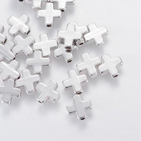 Priedai papuošalams skirti papuošalų, rankdarbių, suvenyrų gamyboje. Sidabro spalvos, kryžiaus formos, kaina - 0,3 Eur už 1 vn