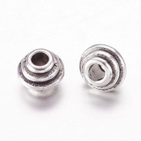 Priedai papuošalams skirti papuošalų, rankdarbių, suvenyrų gamyboje. Sendintos sidabro spalvos, rondelės formos, kaina - 0,9 Eu