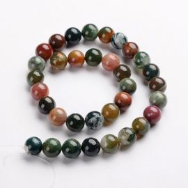 Natural Indijos Agate beads 12 mm., 1 strand.