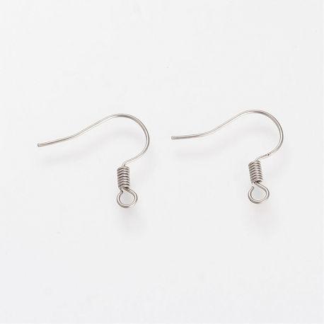Nerūdijančio plieno 304 auskarų kabliukai 18x21 mm., 5 poros