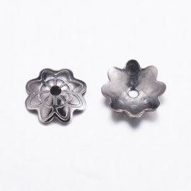 Nerūdijančio plieno 304 kepurėlė, nikelio spalvos, 7x2 mm. gėlytės formos