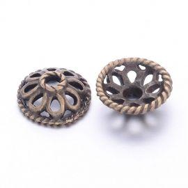Kepurėlės skirtos papuošalų, rankdarbių, suvenyrų gamyboje. Sendintos bronzinės spalvos, kaina - 0,48 Eur už 4 vnt.