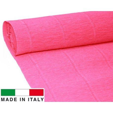 551 Cartotecnica Rossi gofruotas floristinis krepinis popierius, skirtas rankdarbiams, įpakavimams. Ryškios rožinės spalvos, ka