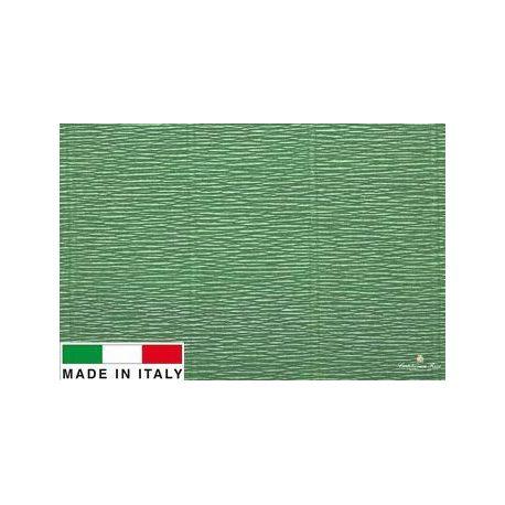 Itališkas krepinis popierius, žalsvos spalvos, 2.50 x 0.50 m.