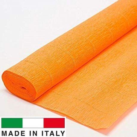 581 Cartotecnica Rossi gofruotas floristinis krepinis popierius, skirtas rankdarbiams, įpakavimams. Oranžinės spalvos, kaina -