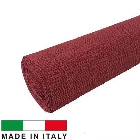 Itališkas krepinis popierius, rudai raudonos spalvos, 2.50 x 0.50 m.