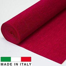 586 Cartotecnica Rossi gofruotas floristinis krepinis popierius, skirtas rankdarbiams, įpakavimams. Tamsiai raudonos spalvos, k