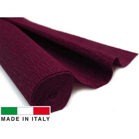 Itališkas krepinis popierius, tamsiai vyšninės spalvos, 2.50 x 0.50 m.