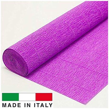 590 Cartotecnica Rossi gofruotas floristinis krepinis popierius, skirtas rankdarbiams, įpakavimams. Ryškiai alyvinės spalvos, k