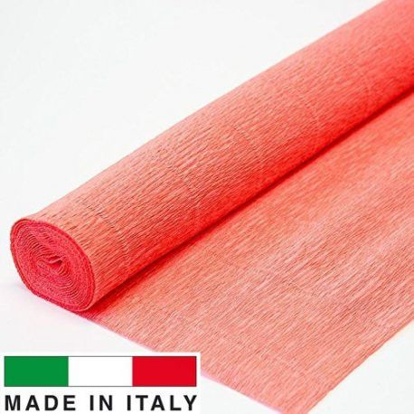 601 Cartotecnica Rossi gofruotas floristinis krepinis popierius, skirtas rankdarbiams, įpakavimams. Rauvos (lašišos) spalvos, k