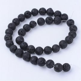 Natural Lava beads 8-8.5 mm., 1 strand
