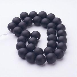 Agato karoliukai akmenėliai apyrankėms, vėriniams, papuošalams verti ir gaminti. Juodos spalvos, apvalios formos, kaina - 8,49