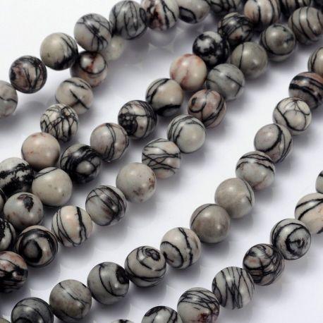 Natūralūs Jaspio karoliukai, pilkos spalvos 10 mm., 1 gija