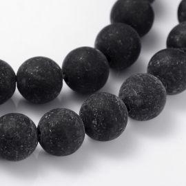 Agato karoliukai akmenėliai apyrankėms, vėriniams, papuošalams verti ir gaminti. Juodos spalvos, apvalios formos, kaina - 6 Eur