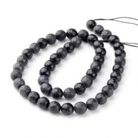 Black stone beads 10 mm., 1 strand