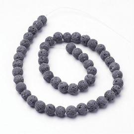 Natūralūs Lavos karoliukai akmenėliai apyrankėms, vėriniams, papuošalams verti ir gaminti. Pilkos spalvos, apvalios formos, kai