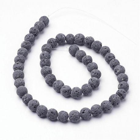 Natūralūs Lavos karoliukai, pilkos spalvos 8 mm., 1 gija