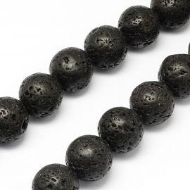Natūralūs Lavos karoliukai akmenėliai apyrankėms, vėriniams, papuošalams verti ir gaminti. Juodos spalvos, apvalios formos, kai
