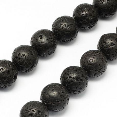 Natūralūs Lavos karoliukai, juodos spalvos 12 mm., 1 gija