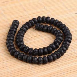 Natūralūs Lavos karoliukai akmenėliai apyrankėms, vėriniams, papuošalams verti ir gaminti. Juodos spalvos, rondelės formos, kai