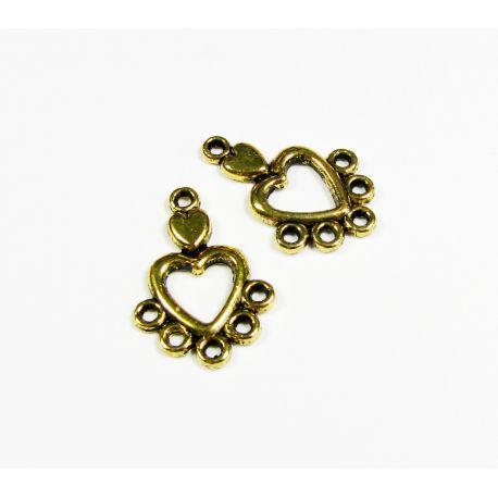 Paskirstytojas širdelės formos kaklo vėriniams, apyrankėms, rankdarbiams. Sendintos aukso spalvos, 6 kilpų, 19x13 mm