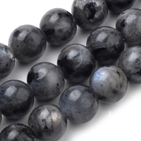 Natūralūs Norvegiško labradorito karoliukai, pilkos-juodos spalvos 10 mm., 1 gija