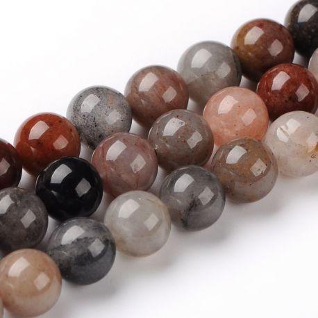 Natūralūs kvarco karoliukai, rudos-pilkos-gelsvos spalvos 10 mm., 1 gija