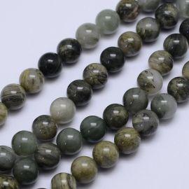Natūralūs žaliojo rutilo kvarco karoliukai 10 mm., 1 gija