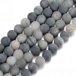 Natūralūs žaliojo rutilo kvarco karoliukai 8 mm., 1 gija