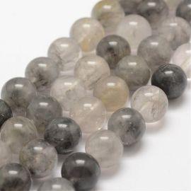 Natūralūs rutilo kvarco karoliukai akmenėliai apyrankėms, vėriniams, papuošalams verti ir gaminti. Pilkos spalvos, apvalios form