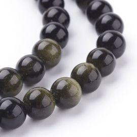 Natūralūs obsidiano karoliukai 8 mm., 1 gija