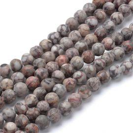 Natūralūs jaspio karoliukai 12 mm., 1 gija